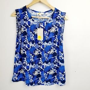 Boden Blue & White Sleeveless Floral Blouse Size 6
